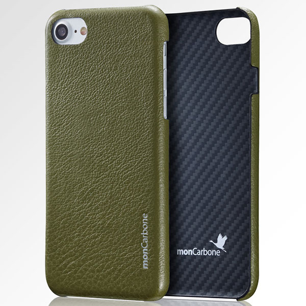 monCarbone iPhone 8 Plus / 7 Plus Hoverskin Kevlar and Napa Leather Midnight Green