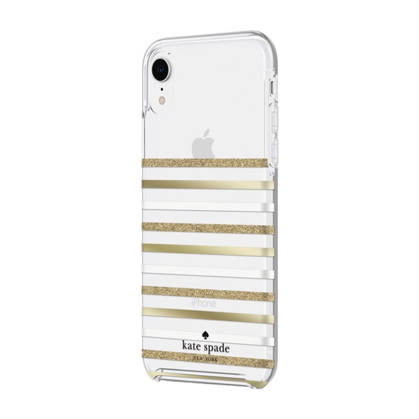 kate spade iPhone XR NEW YORK Protective Hardshell Case (1-PC Comold) Feeder Stripe Gold/Gold Glitter/Cream/Clear