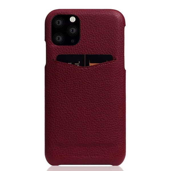 SLG Design iPhone 11 Pro Full Grain Leather Back Case 本革 カードホルダー付 背面ケース Burgundy Rose