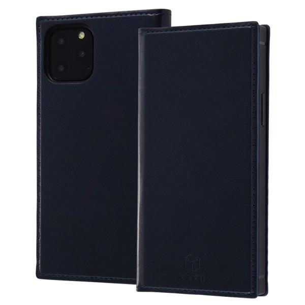 ingrem iPhone 11 Pro 手帳型 耐衝撃レザーケース KAKU リング付360 ピタッとカバー ダークネイビー