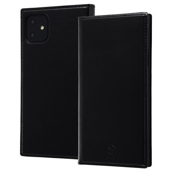 ingrem iPhone 11 手帳型 耐衝撃レザーケース KAKU リング付360 ピタッとカバー ブラック ブラック