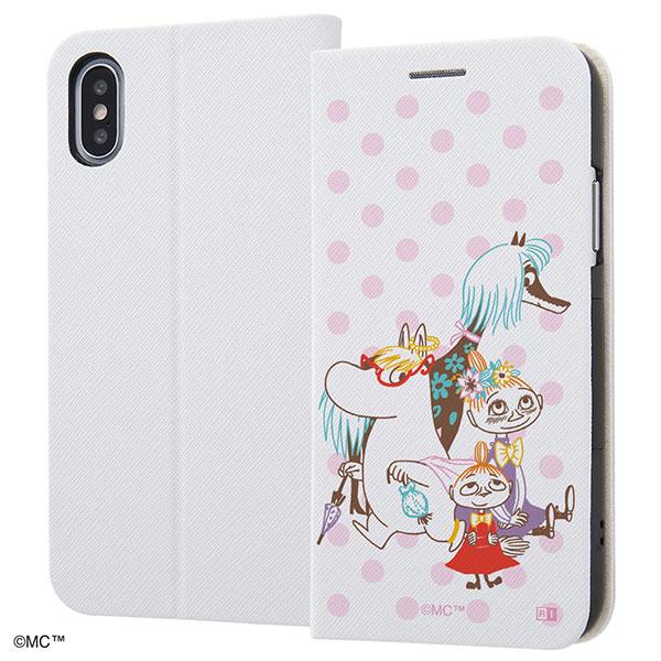 ingrem iPhone XS / X ムーミン 手帳型ケース マグネットタイプ みず玉 ピンク