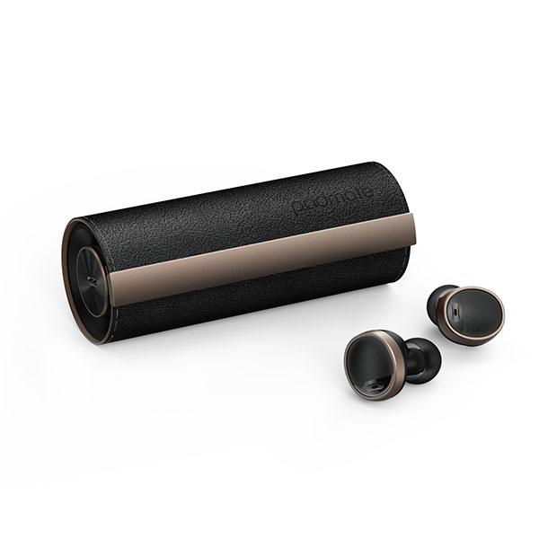 Padmate PaMuScroll Plus 完全ワイヤレスイヤホン Bluetooth 5.0 スクロールレザー調ケース 専用ワイヤレス充電レシーバー付き Black Leather+