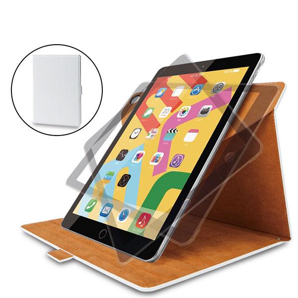 エレコム iPad 8th / 7th フラップケース ソフトレザー 360度回転 ホワイト