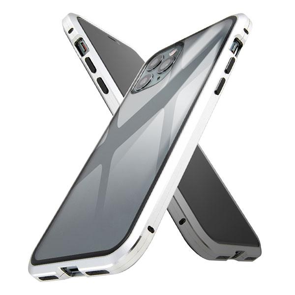 ingrem iPhone 11 Pro アルミバンパー × 背面ガラス マグネットケース シルバー