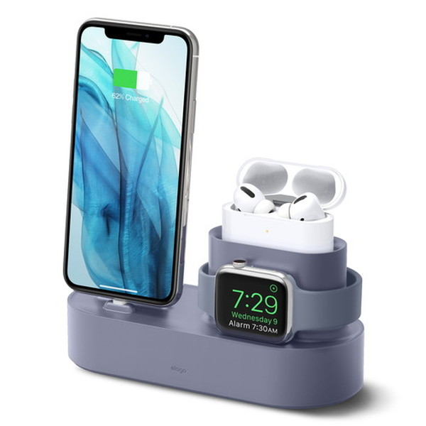 elago iPhone / AirPods Pro / Apple Watch CHARGING HUB PRO 3in1 充電スタンド Lavender Grey