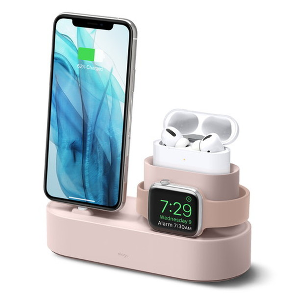 elago iPhone / AirPods Pro / Apple Watch CHARGING HUB PRO 3in1 充電スタンド Sand Pink