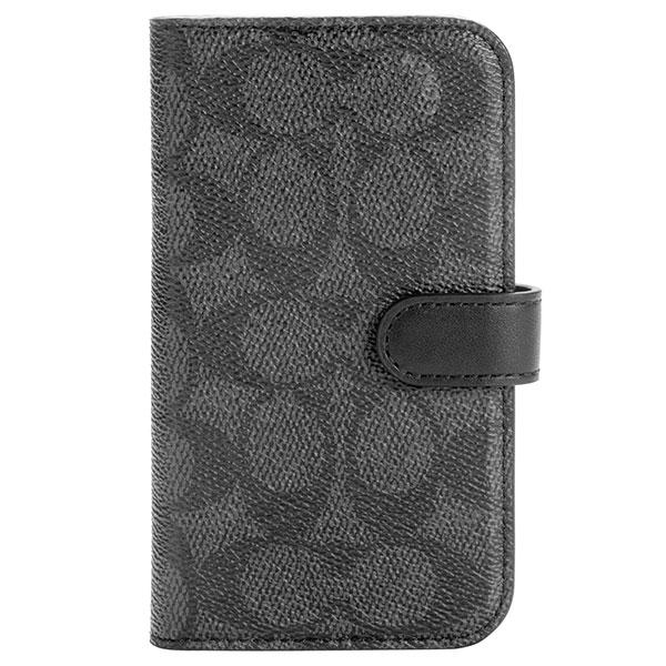 COACH iPhone 12 mini Folio Case Signature C Black