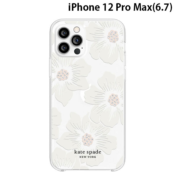kate spade new york iPhone 12 Pro Max Protective Hardshell Case Hollyhock Floral Clear KSIPH-154-HHCCS