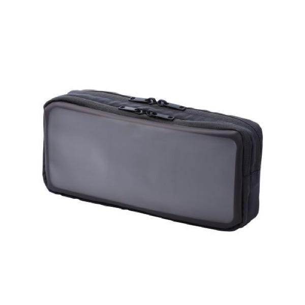 エレコム ガジェットポーチ 透明窓付き 2気室 Lサイズ ブラック