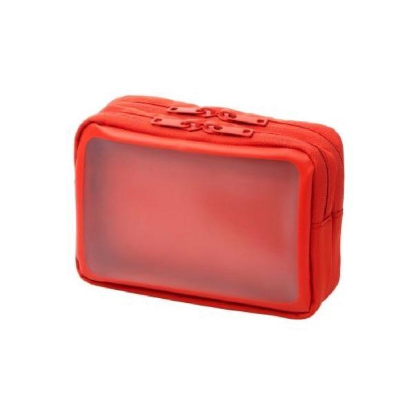 エレコム ガジェットポーチ 透明窓付き 2気室 Mサイズ オレンジ
