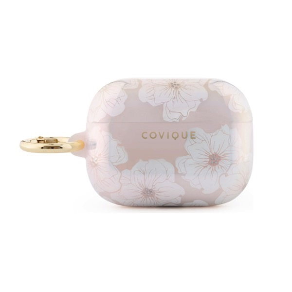 Covique Airpods Pro TPUケース カラビナ付き White Poppy Floral