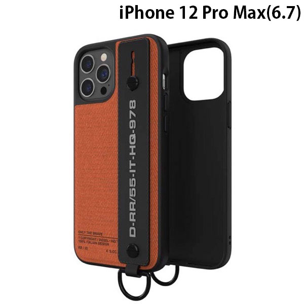 DIESEL iPhone 12 Pro Max Handstrap Case Utility Twill SS21 Black/Orange 44289