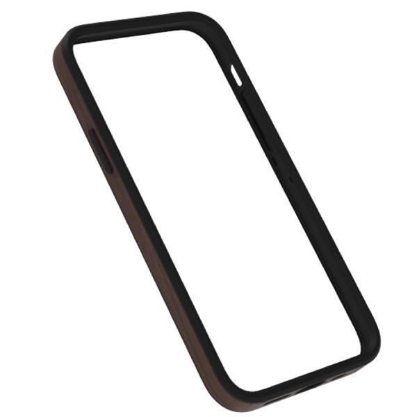Simplism iPhone 12 / 12 Pro [ALINE] 衝撃吸収 バンパーケース 天然木シート ダークウッド