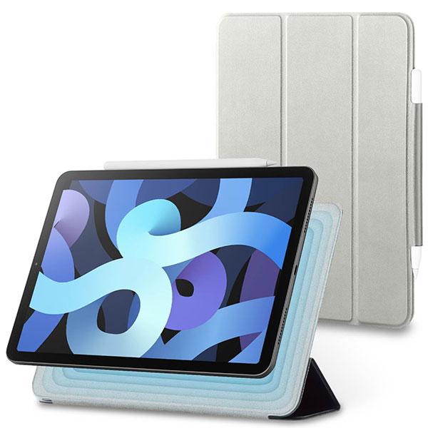 エレコム 10.9インチ iPad Air 第4世代 抗菌 手帳型レザーケース Apple Pencil収納 グレー