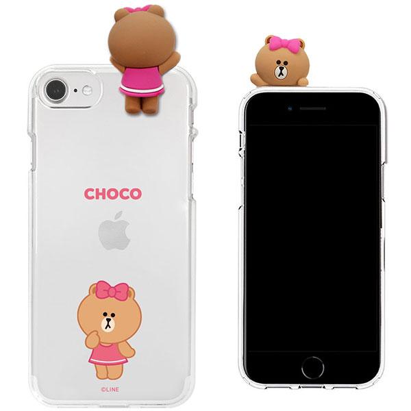 LINE FRIENDS iPhone SE 第2世代 / 8 / 7 フィギュア付きソフトクリアケース SIGNATURE CHOCO
