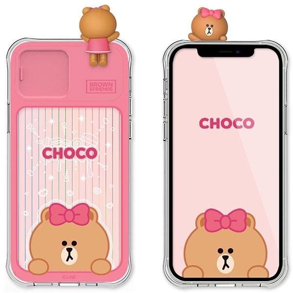 LINE FRIENDS iPhone 12 フィギュア付き LIGHT UP CASE CHOCO