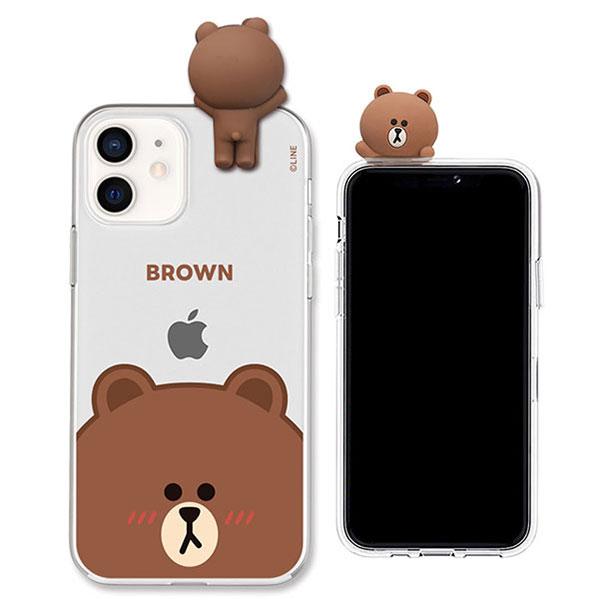 LINE FRIENDS iPhone 12 mini フィギュア付きソフトクリアケース FACE BROWN