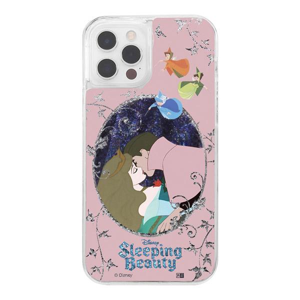 ingrem iPhone 12 / 12 Pro ディズニーキャラクター ラメ グリッターケース 眠れる森の美女 オーロラ姫と王子
