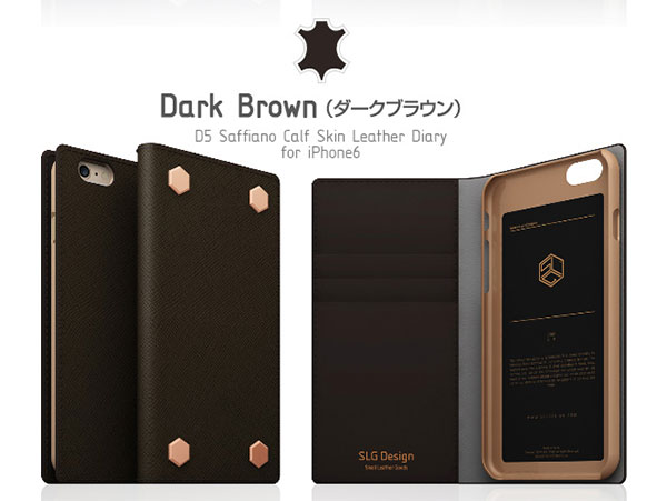 SLG Design iPhone 6 / 6s D5 Saffiano Calf Skin Leather Diary ダークブラウン