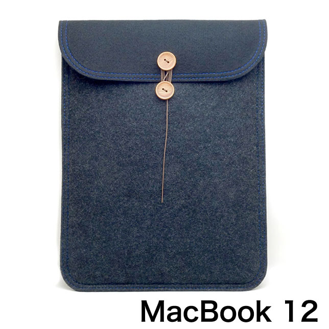 buzzhouse design MacBook 12 ハンドメイドフェルトケース ブラックツートン
