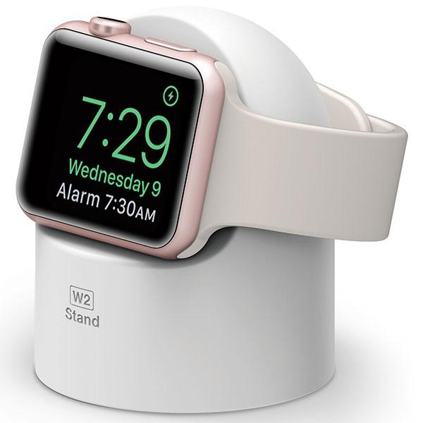elago Apple Watch W2 Stand エルゴノミクスデザイン 純正充電ケーブル対応 シリコンスタンド White