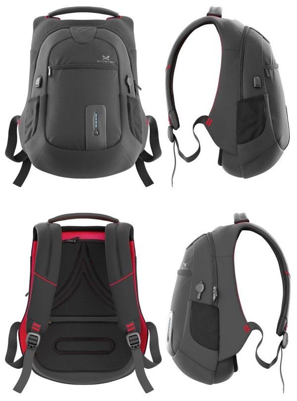 GHOSTEK NRG Bag / Black (Red) モバイルバッテリー内蔵バックパック