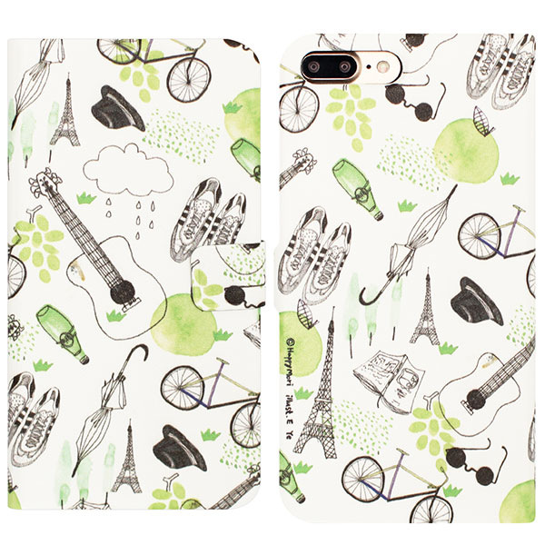 Happymori iPhone 8 Plus / 7 Plus French Cafe Diary グリーン