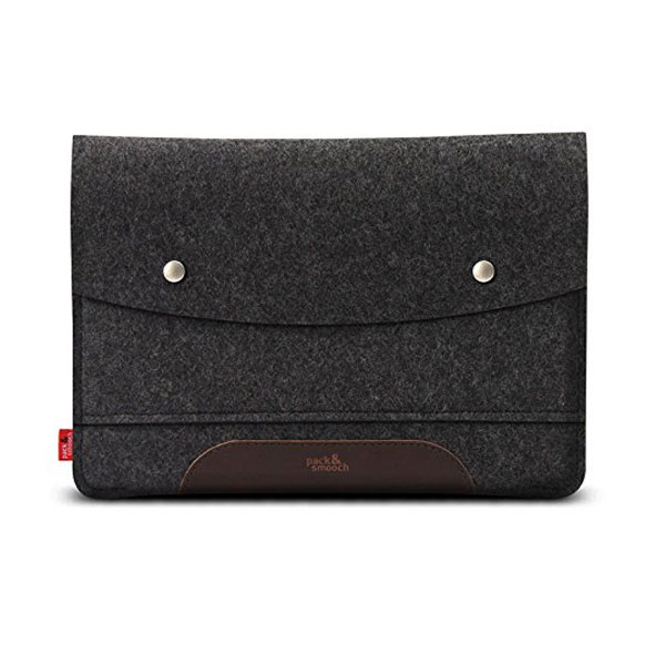 Pack&Smooch Hampshire MacBook 12 ウールフェルト製スリーブケース (Anthracite/DarkBrown)