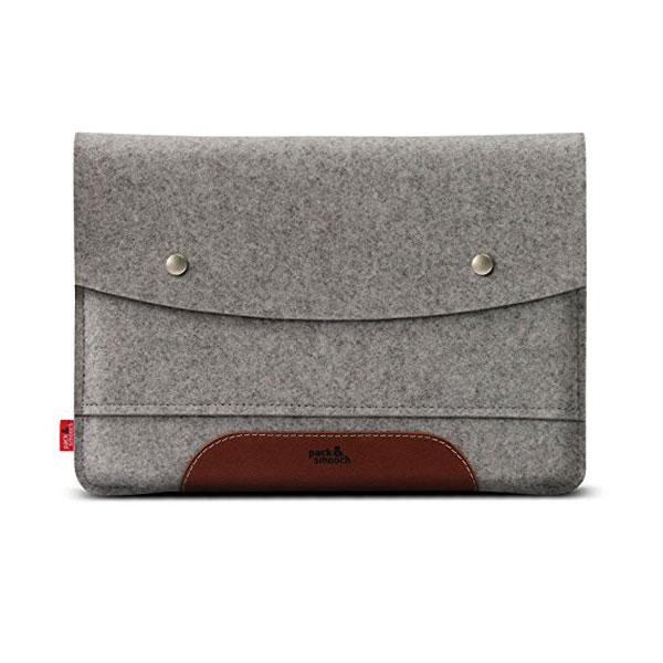 Pack&Smooch Hampshire MacBook 12 ウールフェルト製スリーブケース (Gray/LightBrown)