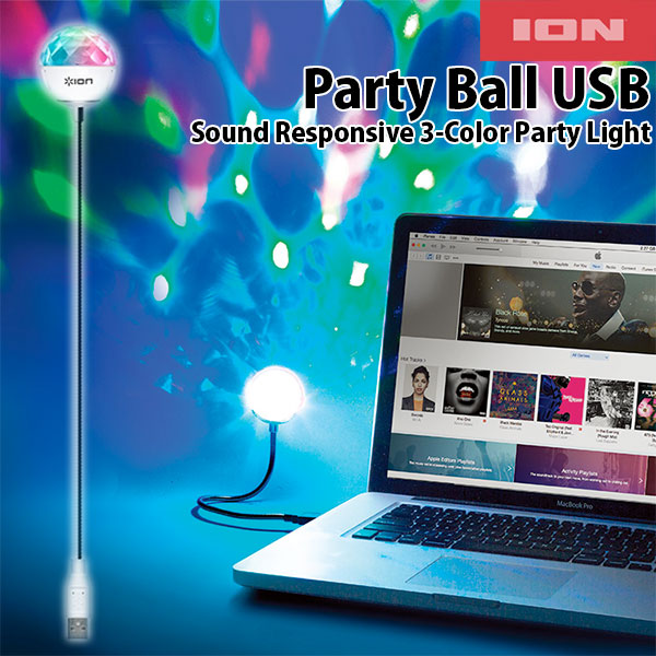 ION Audio ION Party Ball USB Sound Responsive 3-Color Party Ligh
