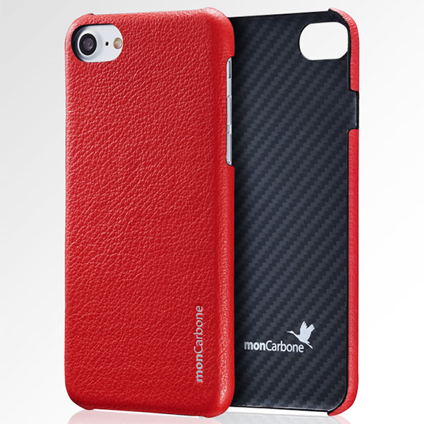 monCarbone Hoverskin iPhone 7 Plus Kevlar and  Napa Leather Luminous Red