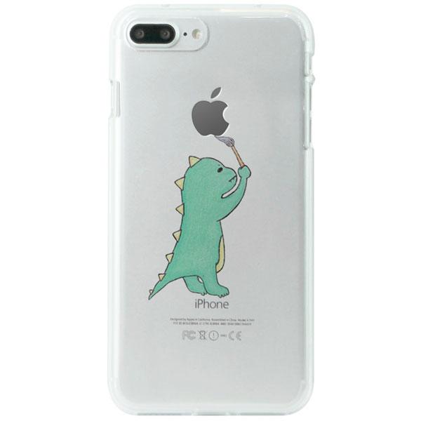 Dparks iPhone 7 Plus ソフトクリアケース お絵かきザウルス グリーン