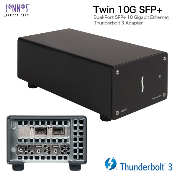 SONNET Twin 10G SFP+ Thunderbolt 3 to Dual 10 Gigagit Ethernet Adapter (SFP+s sold separately)