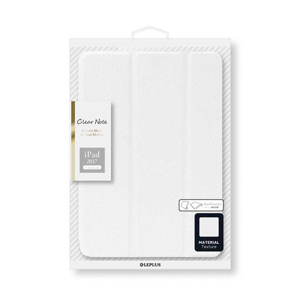 LEPLUS iPad 6th / 5th 背面クリアフラップケース 「Clear Note」 ホワイト