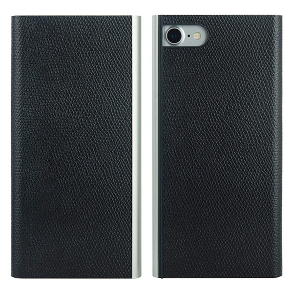 PowerSupport iPhone SE 第2世代 / 8 / 7 Flip Jacket フリップジャケット本牛革型押し (ブラック)