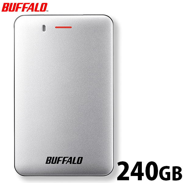 手のひらにすっぽり収まる小型タイプ シルバー 軽量コンパクト SSD-PM240U3A-S 240GB USB3.1 バッファロー (Gen1) ポータブルSSD 対応