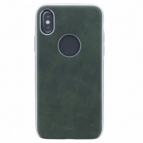 Uniq iPhone XS / X シェル型ケース ソフトPU Glacier Luxe Heritage Khaki (Green)