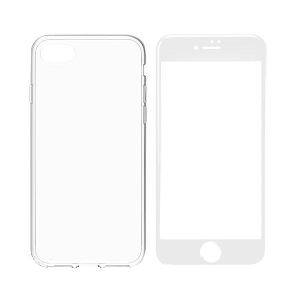 Simplism iPhone 8 Plus / 7 Plus [Aegis Pro] フルカバーセット クリアケース+ホワイトフレームガラス