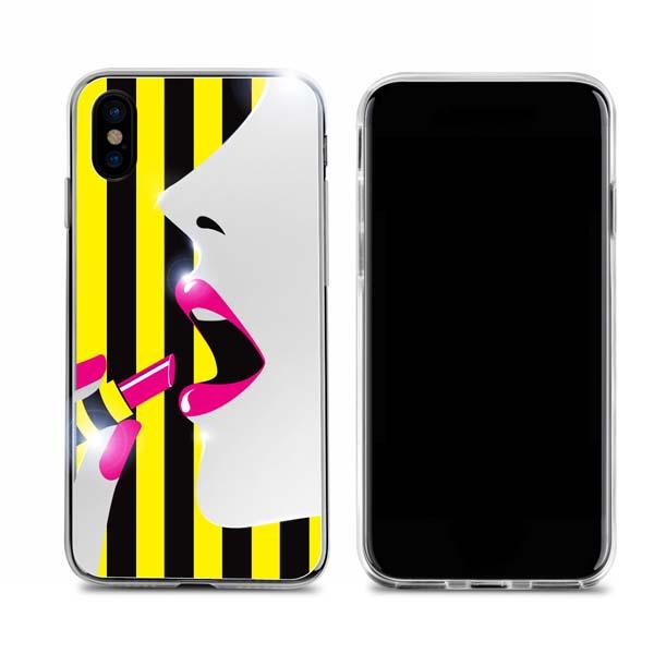 Dreamplus iPhone XS / X STRIPE MIRROR CASE ピンクリップ