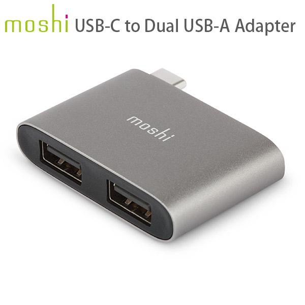 moshi USB-C to Dual USB-A Adapter (Titanium Gray)
