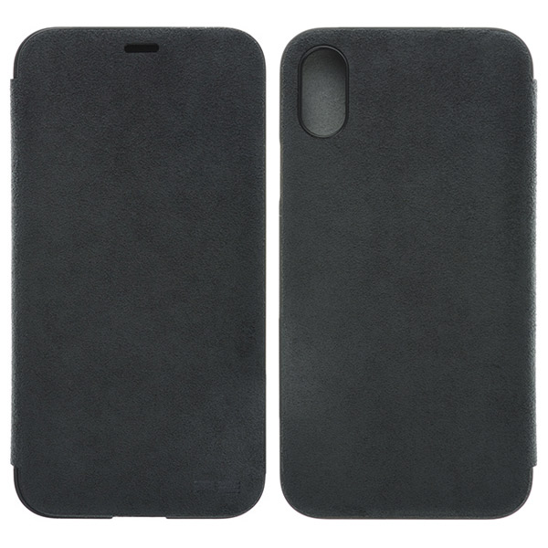 PowerSupport iPhone X Ultrasuede Flip case ウルトラスエード フリップケース (Asphalt)