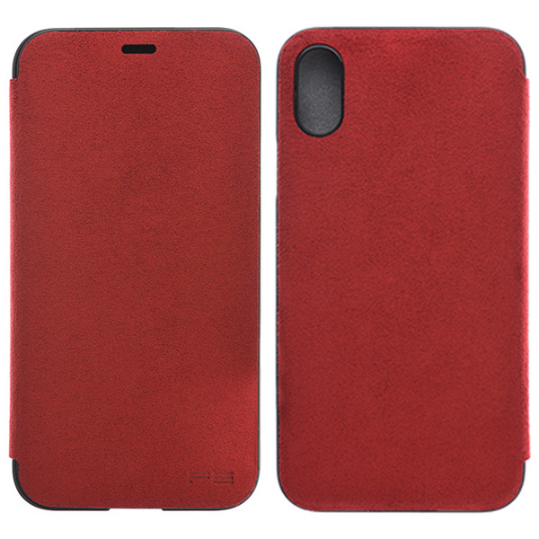PowerSupport iPhone X Ultrasuede Flip case ウルトラスエード フリップケース (Red)