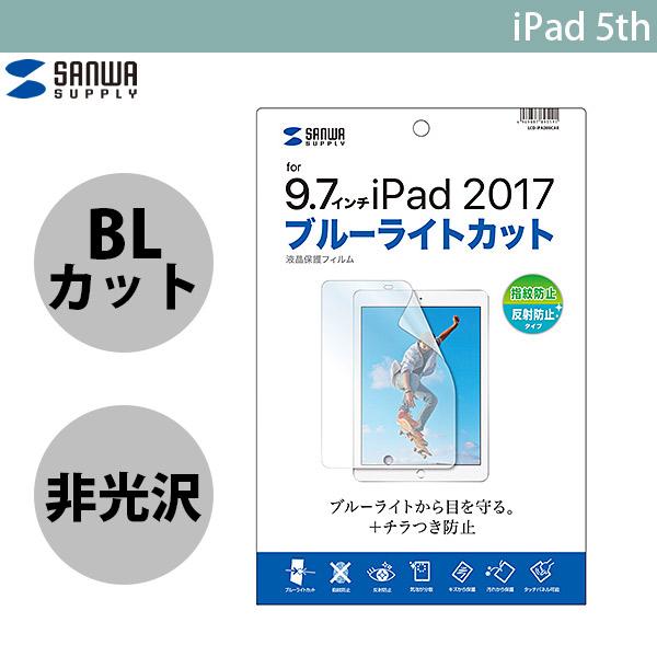 SANWA iPad 6th / 5th ブルーライトカット液晶保護指紋 反射防止フィルム