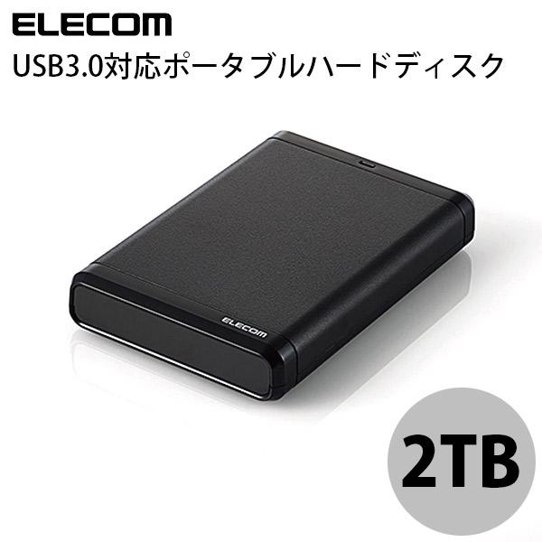 エレコム 2TB ポータブルハードディスク USB 3.0 Black
