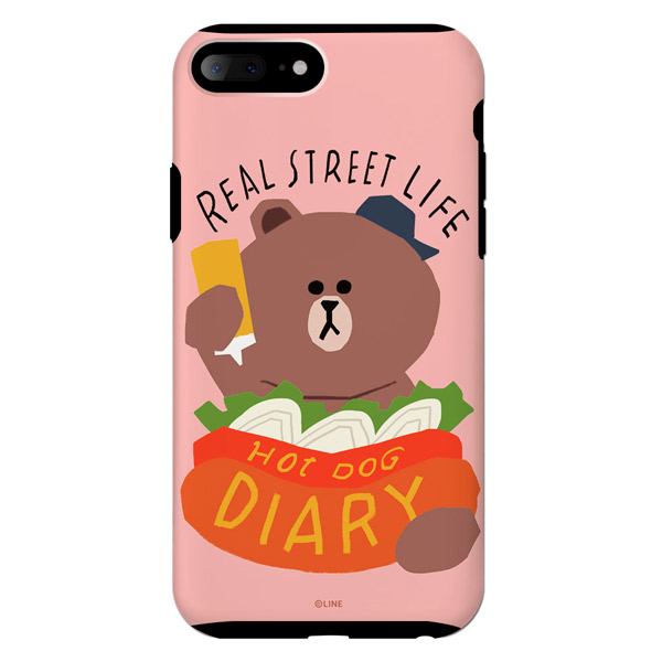 LINE FRIENDS iPhone 8 Plus / 7 Plus LINE FRIENDSケース テーマ ブラウンホットドッグ