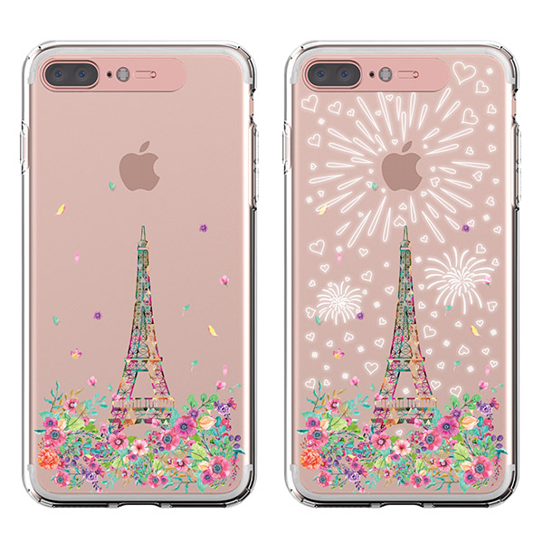 LIGHT UP CASE iPhone 8 Plus / 7 Plus Soft Lighting Clear Case Landmark Paris (ローズゴールド)