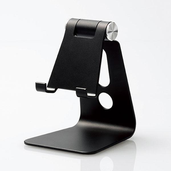 エレコム スマートフォン用 アルミスタンド 角度調節 フリーアングル ブラック