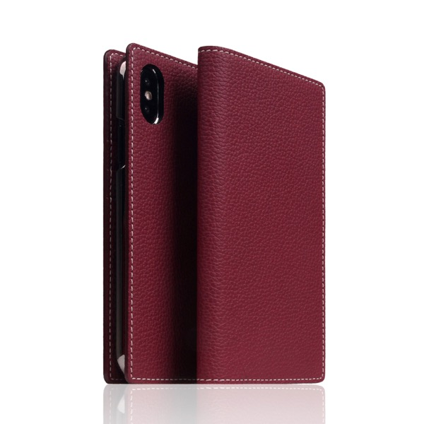 SLG Design iPhone XS / X Full Grain Leather Case Burgundy Rose