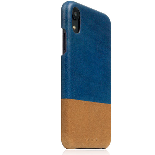 SLG Design iPhone XR Tempomata Leather Back case ブルー X タン